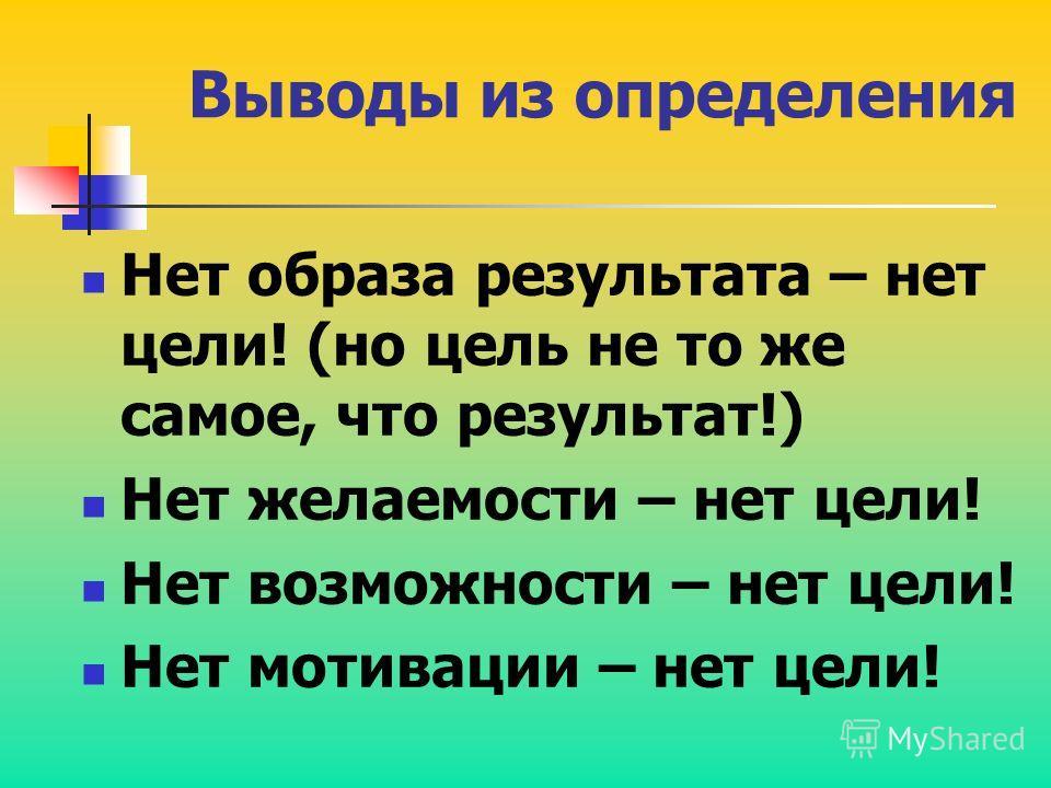Выводы из определения Нет образа результата – нет цели! (но цель не то же самое, что результат!) Нет желаемости – нет цели! Нет возможности – нет цели! Нет мотивации – нет цели!