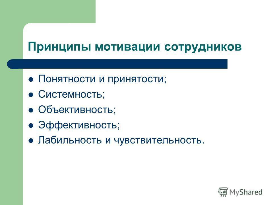 Принципы мотивации сотрудников Понятности и принятости; Системность; Объективность; Эффективность; Лабильность и чувствительность.