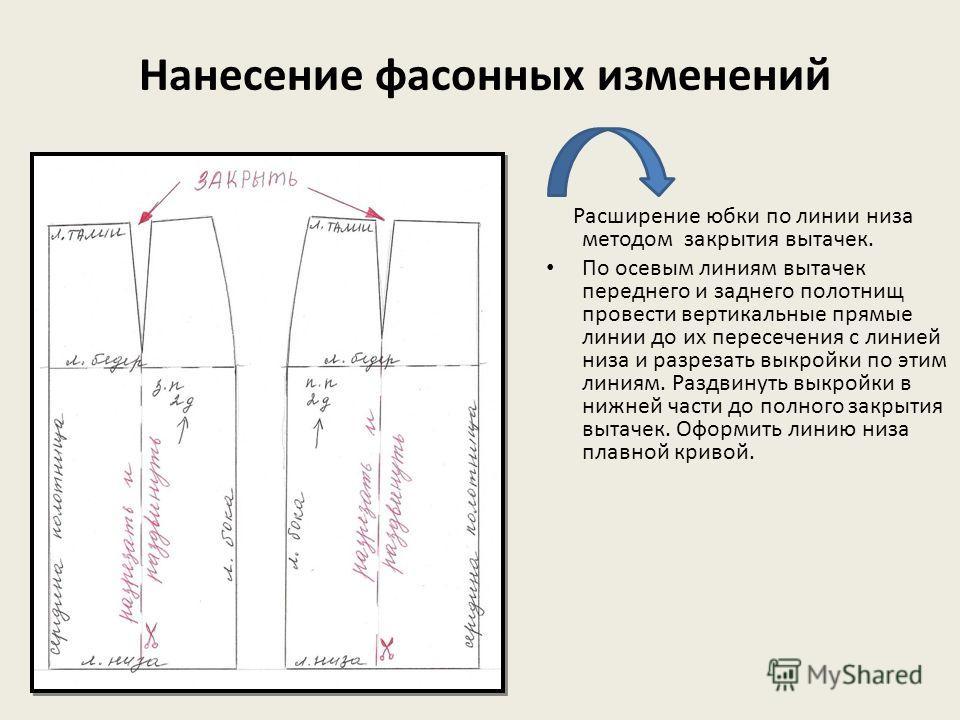 Нанесение фасонных изменений Расширение юбки по линии низа методом закрытия вытачек. По осевым линиям вытачек переднего и заднего полотнищ провести вертикальные прямые линии до их пересечения с линией низа и разрезать выкройки по этим линиям. Раздвин