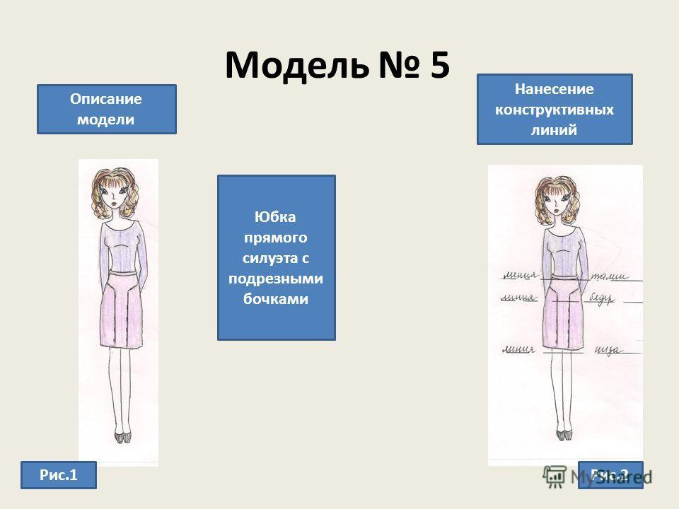 Модель 5 Описание модели Нанесение конструктивных линий Юбка прямого силуэта с подрезными бочками Рис.1Рис.2