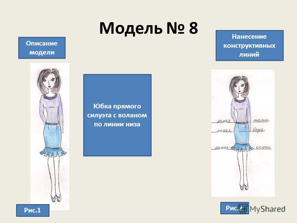 Модель 8 Описание модели Нанесение конструктивных линий Юбка прямого силуэта с воланом по линии низа Рис.1 Рис.2