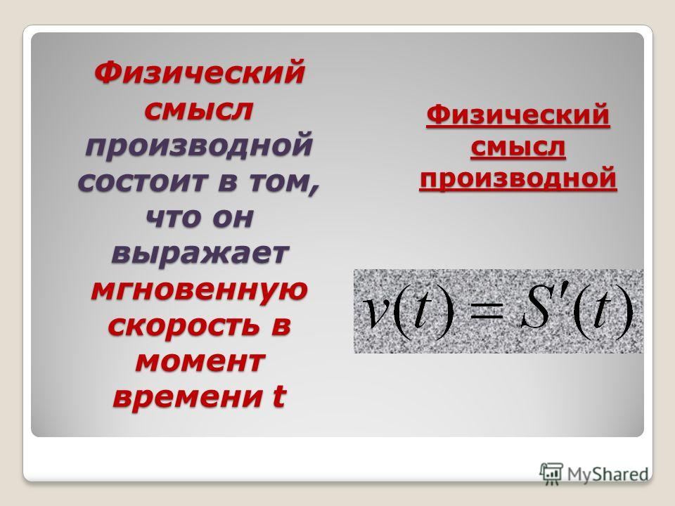 Физический смысл производной состоит в том, что он выражает мгновенную скорость в момент времени t Физический смысл производной