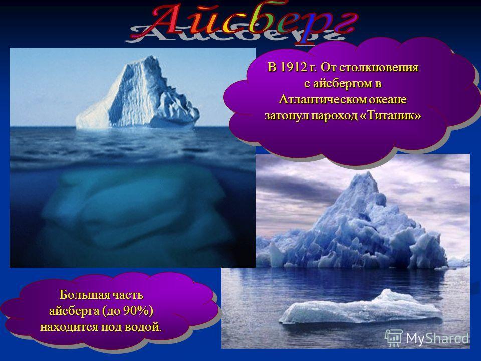В 1912 г. От столкновения с айсбергом в Атлантическом океане затонул пароход «Титаник» В 1912 г. От столкновения с айсбергом в Атлантическом океане затонул пароход «Титаник» Большая часть айсберга (до 90%) находится под водой. Большая часть айсберга