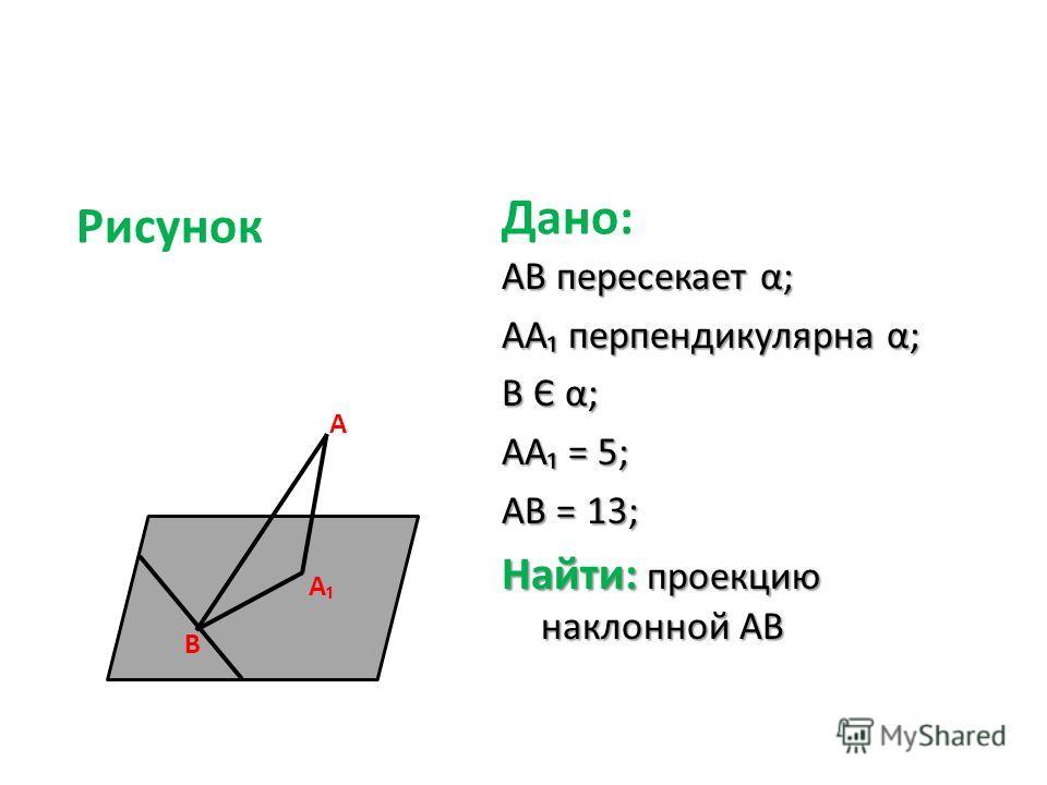B A AB пересекает α; AA перпендикулярна α; B Є α; AA = 5; AB = 13; Найти: проекцию наклонной AB Дано: A Рисунок
