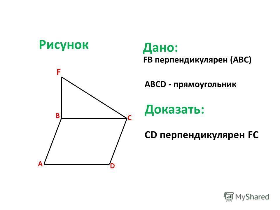Рисунок FB перпендикулярен (ABC) F ABCD - прямоугольник Доказать: CD перпендикулярен FC B C A D Дано: