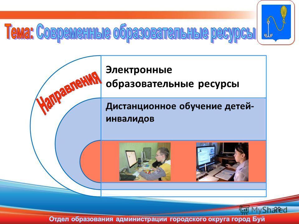 29 Электронные образовательные ресурсы Дистанционное обучение детей- инвалидов