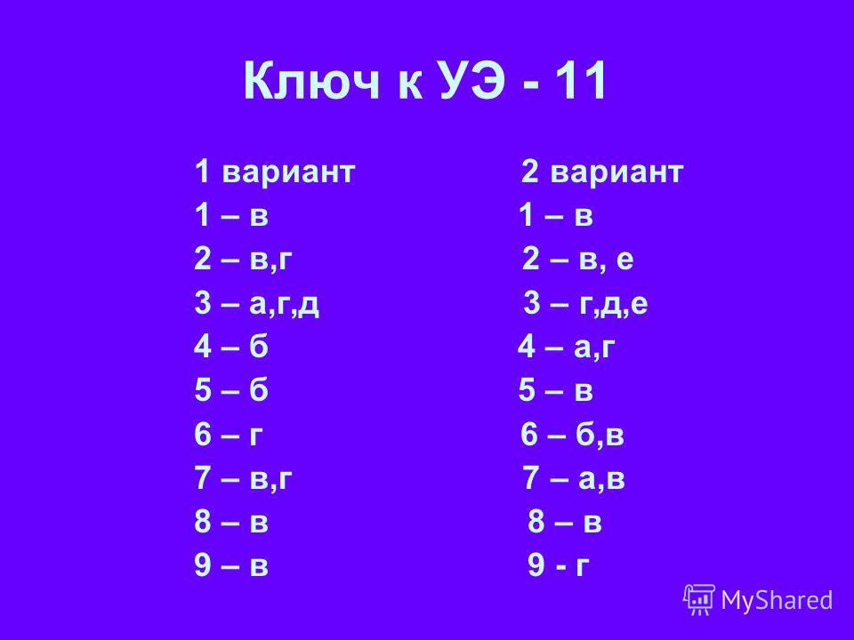 Ключ к УЭ - 11 1 вариант 2 вариант 1 – в 2 – в,г 2 – в, е 3 – а,г,д 3 – г,д,е 4 – б 4 – а,г 5 – б 5 – в 6 – г 6 – б,в 7 – в,г 7 – а,в 8 – в 9 – в 9 - г