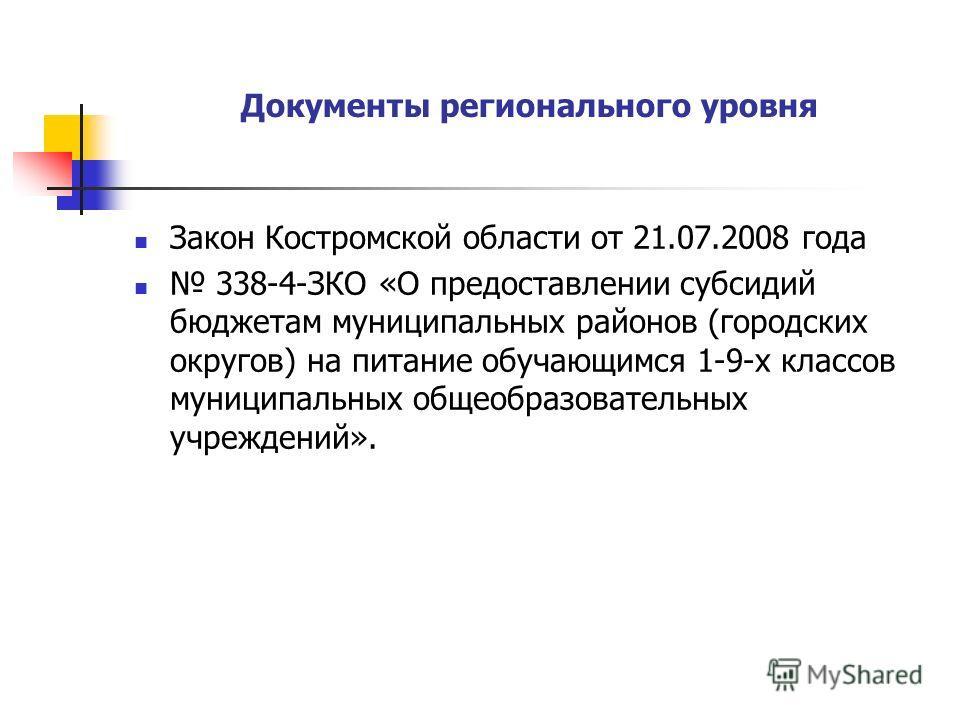 Документы регионального уровня Закон Костромской области от 21.07.2008 года 338-4-ЗКО «О предоставлении субсидий бюджетам муниципальных районов (городских округов) на питание обучающимся 1-9-х классов муниципальных общеобразовательных учреждений».