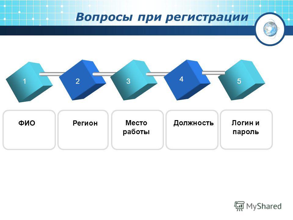 Вопросы при регистрации 123 4 ФИОРегион Место работы Должность 5 Логин и пароль