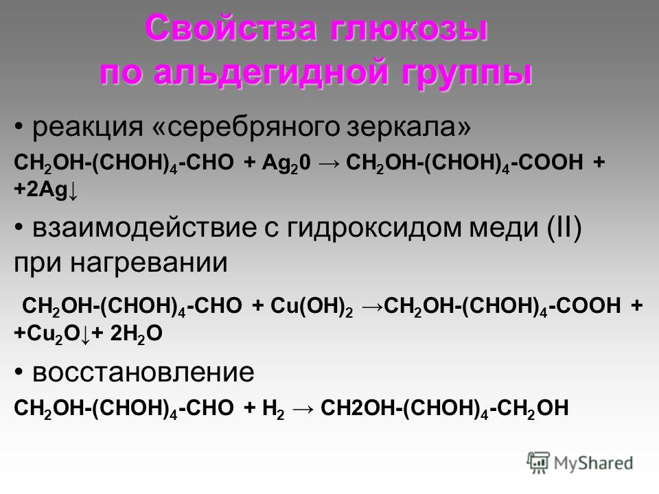 Свойства глюкозы по альдегидной группы реакция «серебряного зеркала» СН 2 ОН-(СНОН) 4 -СНО + Аg 2 0 СН 2 ОН-(СНОН) 4 -СООН + +2Аg взаимодействие с гидроксидом меди (II) при нагревании СН 2 ОН-(СНОН) 4 -СНО + Cu(OH) 2 СН 2 ОН-(СНОН) 4 -СООН + +Cu 2 O+
