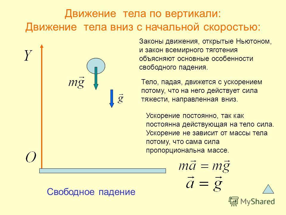 Движение тела по вертикали: Движение тела вниз с начальной скоростью: Законы движения, открытые Ньютоном, и закон всемирного тяготения объясняют основные особенности свободного падения. Тело, падая, движется с ускорением потому, что на него действует