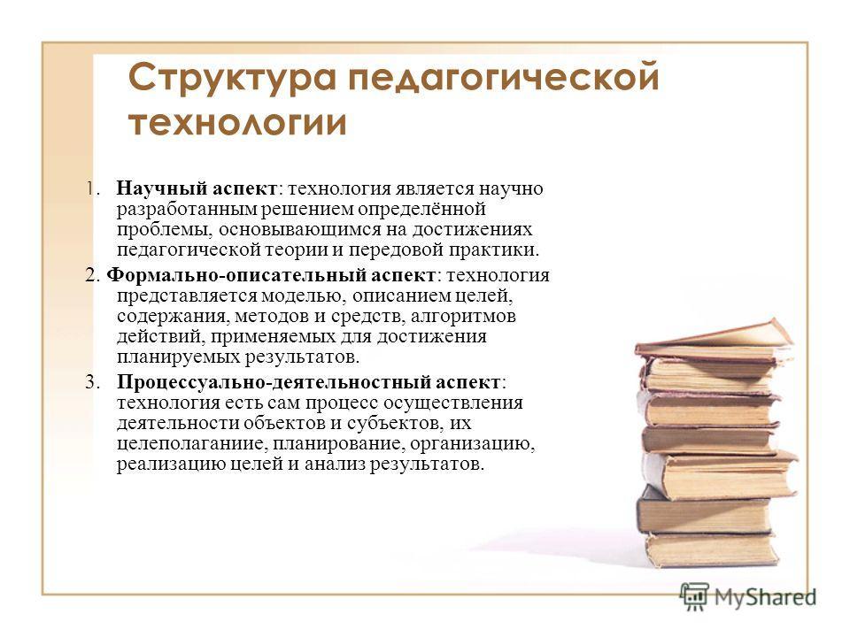 Структура педагогической технологии 1. Научный аспект: технология является научно разработанным решением определённой проблемы, основывающимся на достижениях педагогической теории и передовой практики. 2. Формально-описательный аспект: технология пре