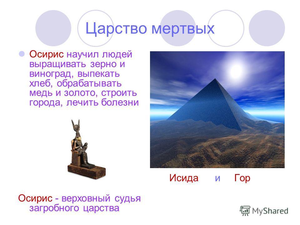 Царство мертвых Осирис научил людей выращивать зерно и виноград, выпекать хлеб, обрабатывать медь и золото, строить города, лечить болезни Осирис - верховный судья загробного царства Исида и Гор