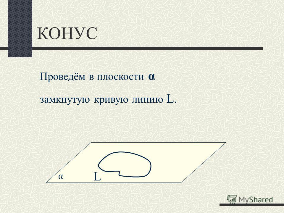 КОНУС α Проведём в плоскости α замкнутую кривую линию L. L