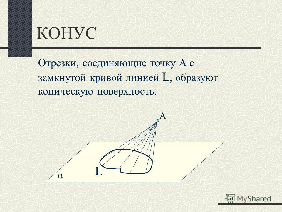 КОНУС α Отрезки, соединяющие точку А с замкнутой кривой линией L, образуют коническую поверхность. L А