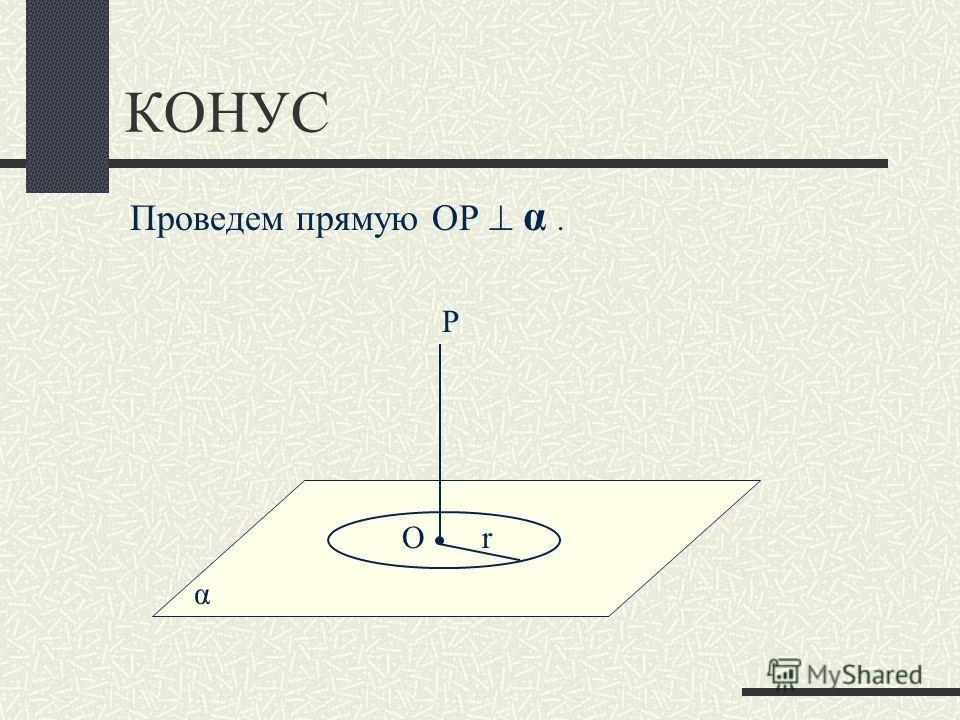КОНУС α Проведем прямую ОР α. Оr Р