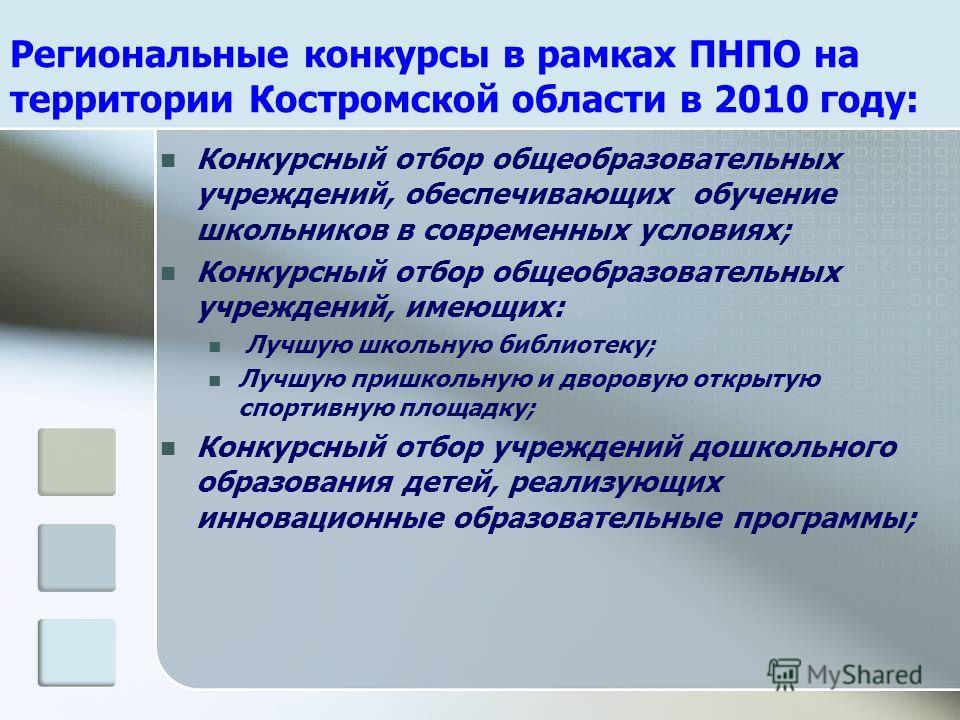 Региональные конкурсы в рамках ПНПО на территории Костромской области в 2010 году: Конкурсный отбор общеобразовательных учреждений, обеспечивающих обучение школьников в современных условиях; Конкурсный отбор общеобразовательных учреждений, имеющих: Л