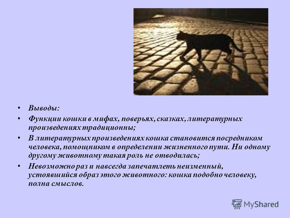 В ыводы: Ф ункции кошки в мифах, поверьях, сказках, литературных произведениях традиционны; В литературных произведениях кошка становится посредником человека, помощником в определении жизненного пути. Ни одному другому животному такая роль не отводи