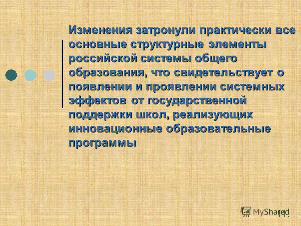 Изменения затронули практически все основные структурные элементы российской системы общего образования, что свидетельствует о появлении и проявлении системных эффектов от государственной поддержки школ, реализующих инновационные образовательные прог