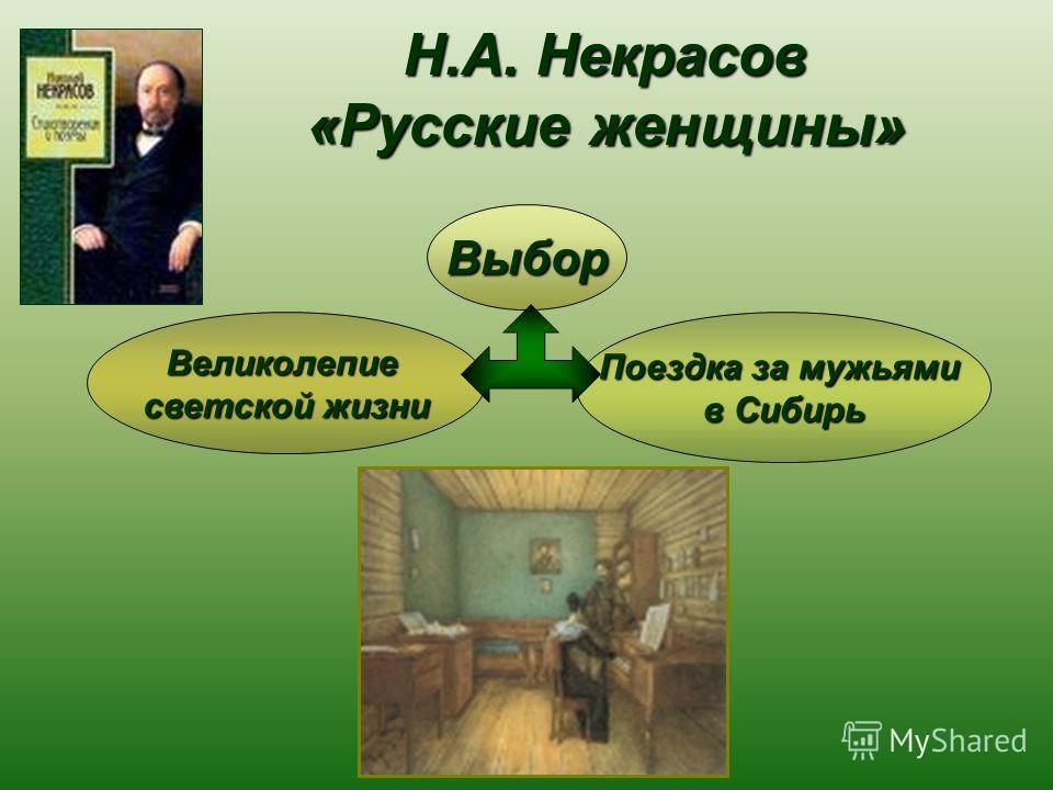 Н.А. Некрасов «Русские женщины» Великолепие светской жизни Поездка за мужьями в Сибирь Выбор