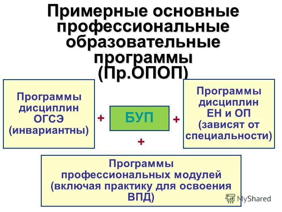 Примерные основные профессиональные образовательные программы (Пр.ОПОП) БУП + Программы дисциплин ОГСЭ (инвариантны) Программы дисциплин ЕН и ОП (зависят от специальности) Программы профессиональных модулей (включая практику для освоения ВПД) + +