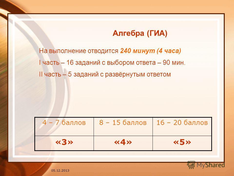 05.12.2013 На выполнение отводится 240 минут (4 часа) I часть – 16 заданий с выбором ответа – 90 мин. II часть – 5 заданий с развёрнутым ответом 4 – 7 баллов8 – 15 баллов16 – 20 баллов «3»«4»«5» Алгебра (ГИА)