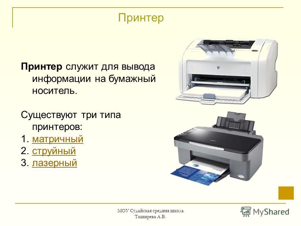 МОУ Судайская средняя школа Таширева А.В. Принтер Принтер служит для вывода информации на бумажный носитель. Существуют три типа принтеров: 1.матричныйматричный 2.струйныйструйный 3.лазерныйлазерный