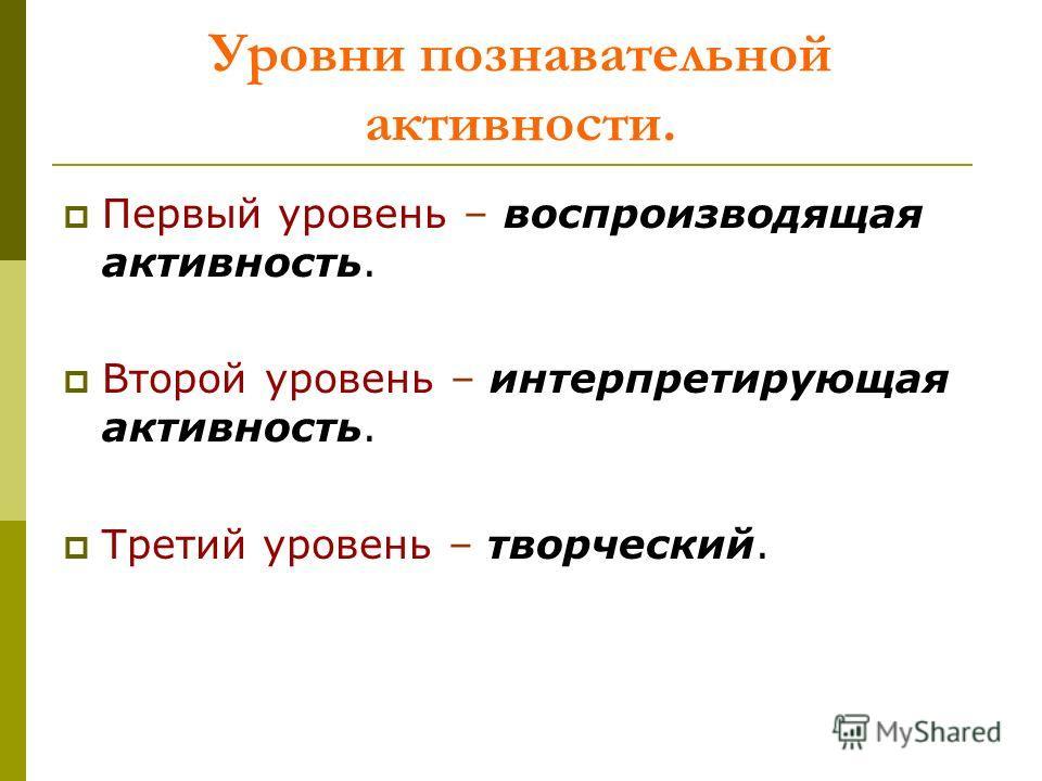 Уровни познавательной активности. Первый уровень – воспроизводящая активность. Второй уровень – интерпретирующая активность. Третий уровень – творческий.
