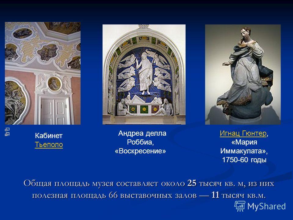 Общая площадь музея составляет около 25 тысяч кв. м, из них полезная площадь 66 выставочных залов 11 тысяч кв.м. Кабинет Тьеполо Тьеполо Андреа делла Роббиа, «Воскресение» Игнац ГюнтерИгнац Гюнтер, «Мария Иммакулата», 1750-60 годы