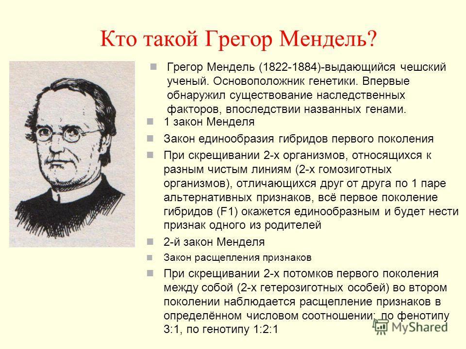 Кто такой Грегор Мендель? Грегор Мендель (1822-1884)-выдающийся чешский ученый. Основоположник генетики. Впервые обнаружил существование наследственных факторов, впоследствии названных генами. 1 закон Менделя Закон единообразия гибридов первого покол