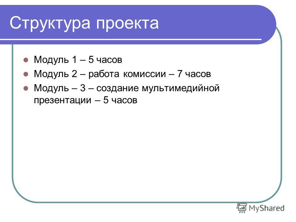 Структура проекта Модуль 1 – 5 часов Модуль 2 – работа комиссии – 7 часов Модуль – 3 – создание мультимедийной презентации – 5 часов