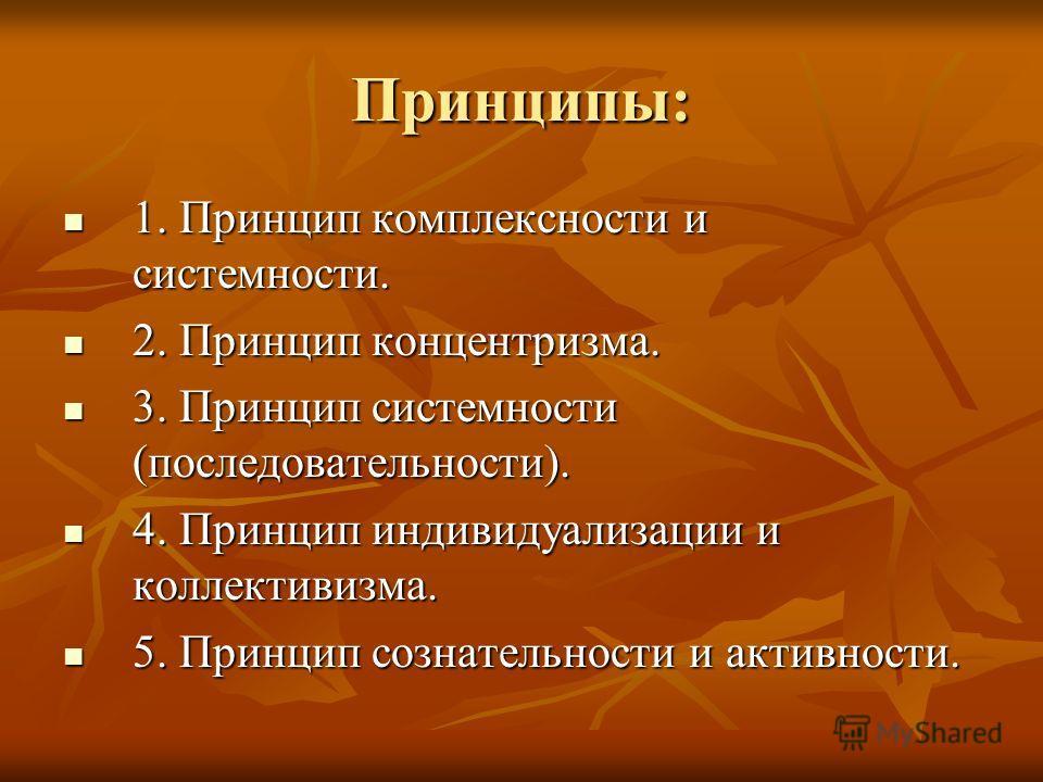 Принципы: 1. Принцип комплексности и системности. 1. Принцип комплексности и системности. 2. Принцип концентризма. 2. Принцип концентризма. 3. Принцип системности (последовательности). 3. Принцип системности (последовательности). 4. Принцип индивидуа