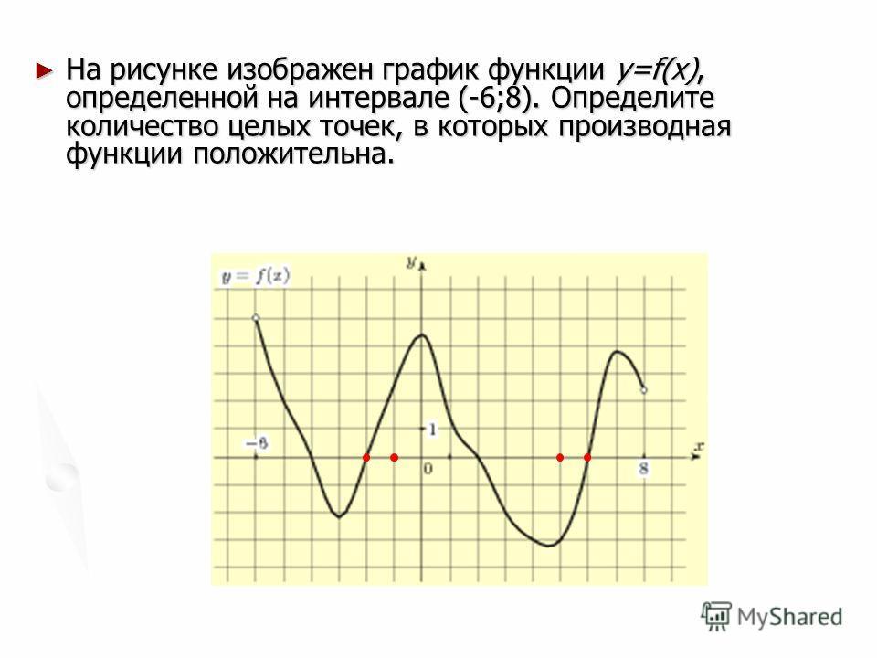 На рисунке изображен график функции y=f(x), определенной на интервале (-6;8). Определите количество целых точек, в которых производная функции положительна. На рисунке изображен график функции y=f(x), определенной на интервале (-6;8). Определите коли
