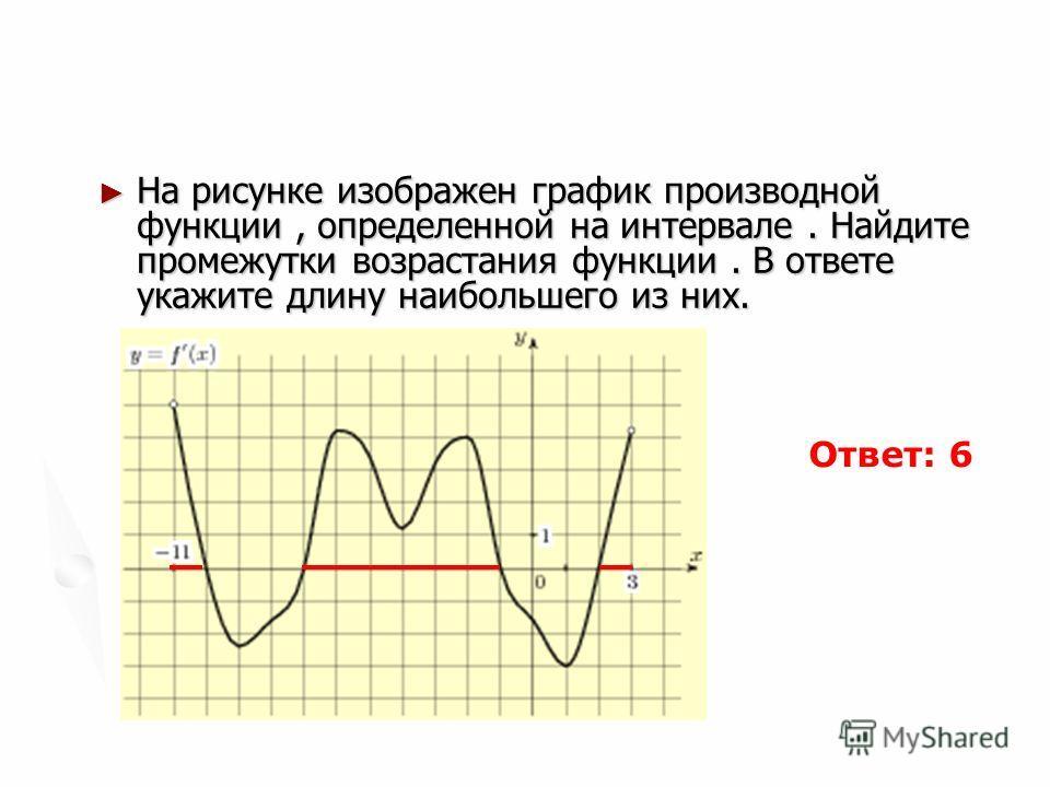 На рисунке изображен график производной функции, определенной на интервале. Найдите промежутки возрастания функции. В ответе укажите длину наибольшего из них. На рисунке изображен график производной функции, определенной на интервале. Найдите промежу