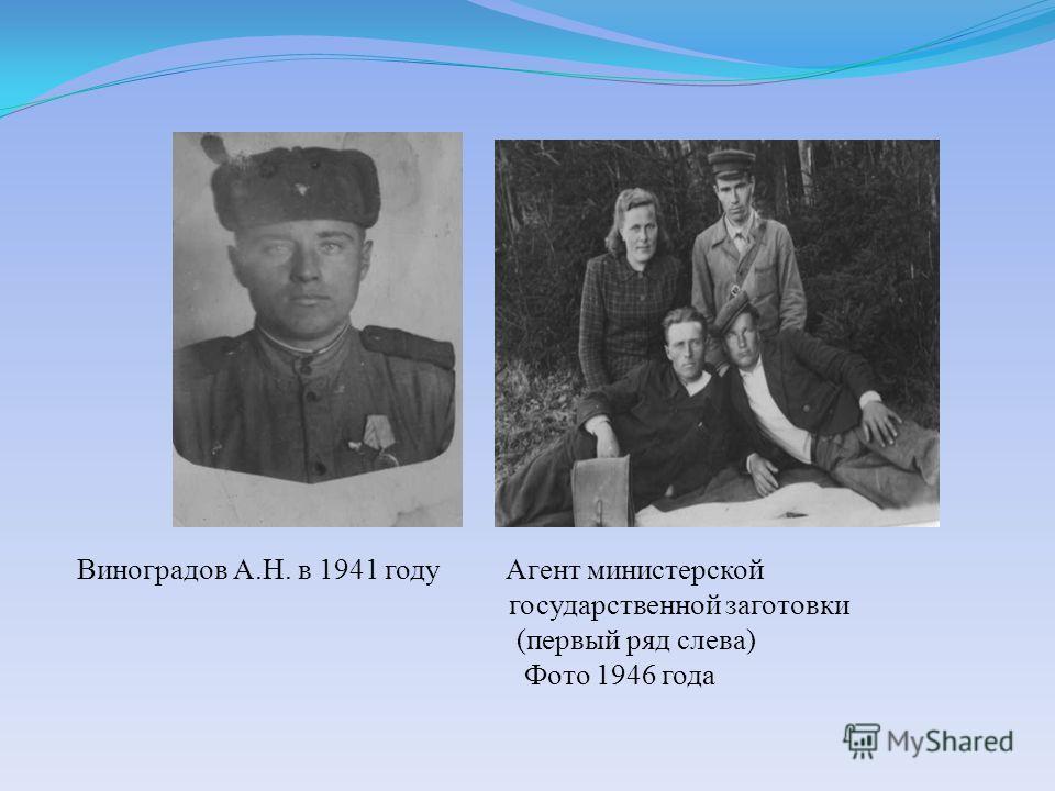 Виноградов А.Н. в 1941 году Агент министерской государственной заготовки (первый ряд слева) Фото 1946 года