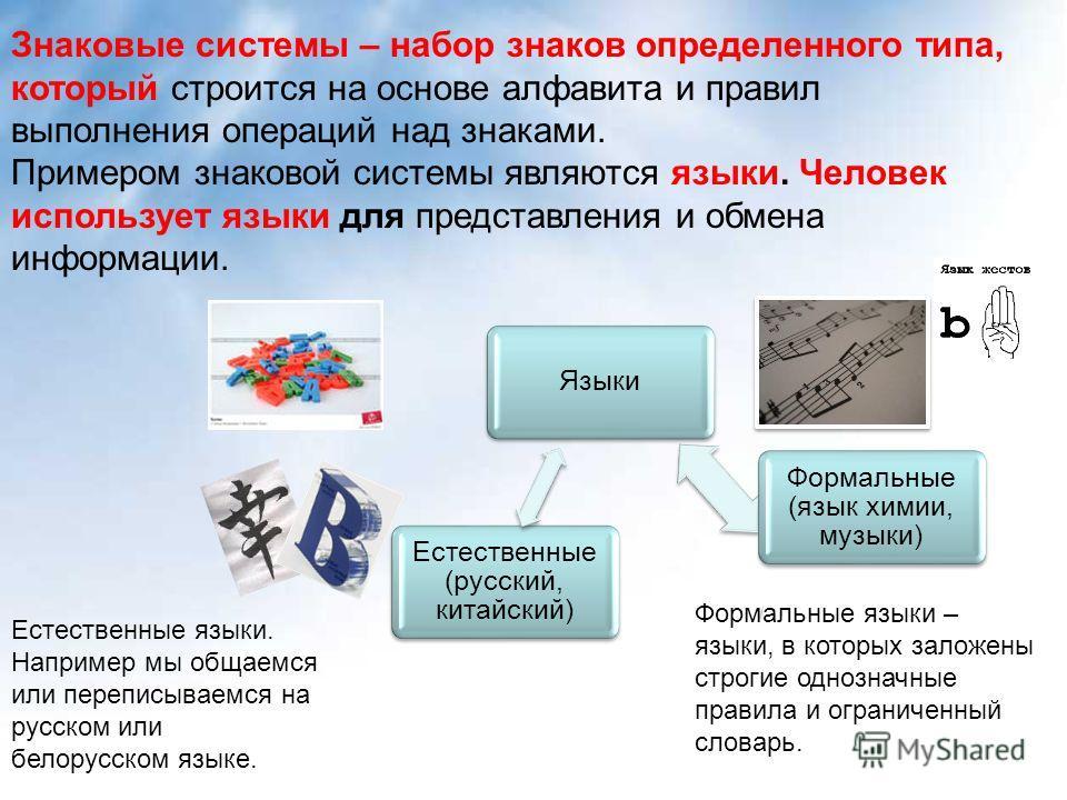 Языки Формальные (язык химии, музыки) Естественные (русский, китайский) Знаковые системы – набор знаков определенного типа, который строится на основе алфавита и правил выполнения операций над знаками. Примером знаковой системы являются языки. Челове