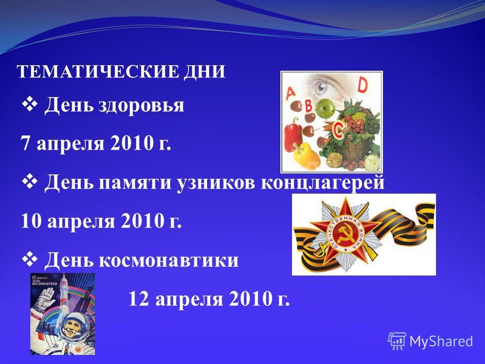 ТЕМАТИЧЕСКИЕ ДНИ День здоровья 7 апреля 2010 г. День памяти узников концлагерей 10 апреля 2010 г. День космонавтики 12 апреля 2010 г.