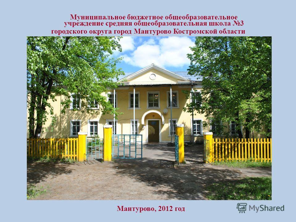 Муниципальное бюджетное общеобразовательное учреждение средняя общеобразовательная школа 3 городского округа город Мантурово Костромской области Мантурово, 2012 год