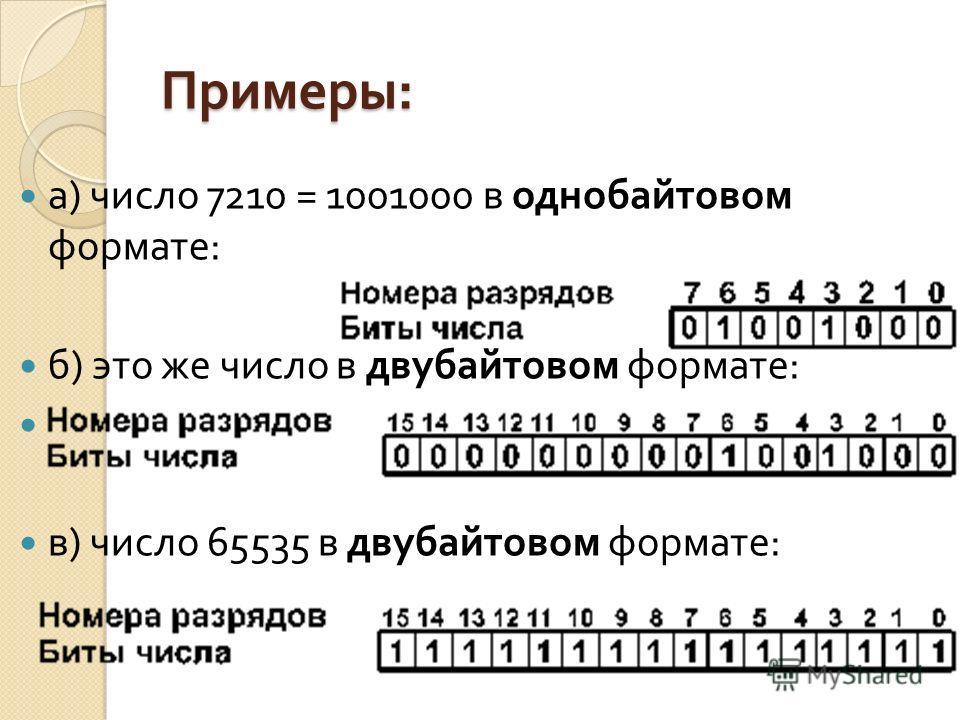 Примеры : а ) число 7210 = 1001000 в однобайтовом формате : б ) это же число в двубайтовом формате : в ) число 65535 в двубайтовом формате :