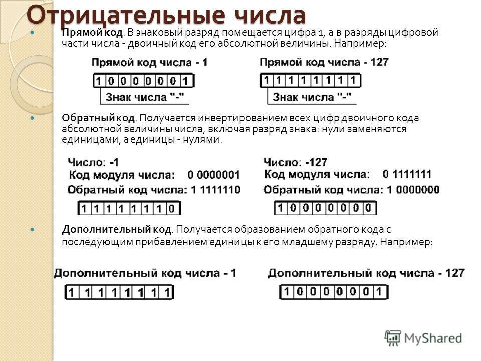 Отрицательные числа Прямой код. В знаковый разряд помещается цифра 1, а в разряды цифровой части числа - двоичный код его абсолютной величины. Например : Обратный код. Получается инвертированием всех цифр двоичного кода абсолютной величины числа, вкл