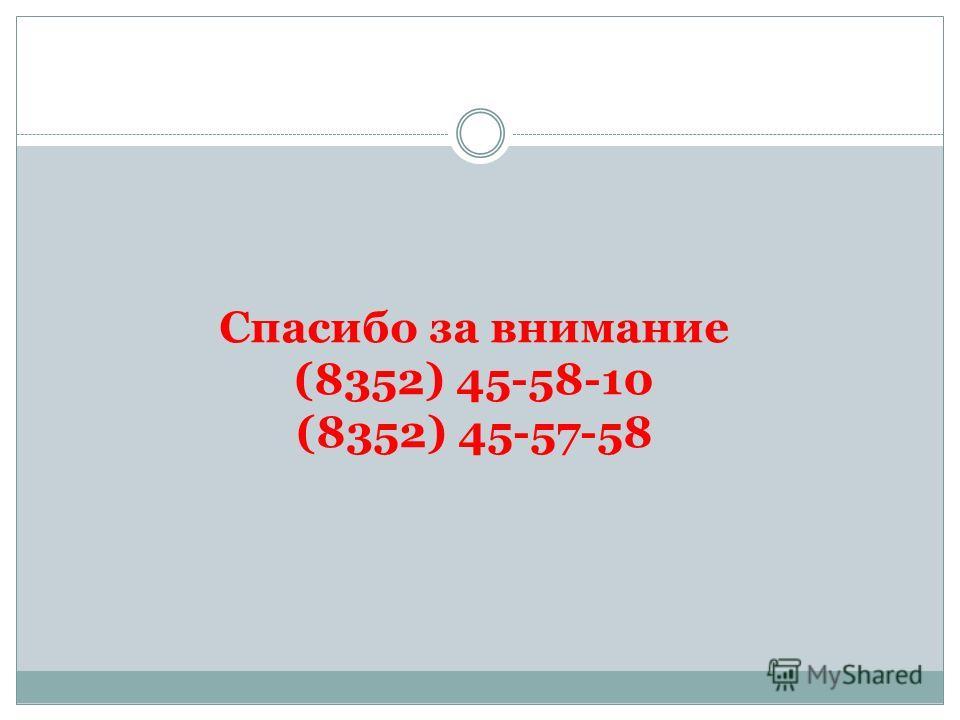Спасибо за внимание (8352) 45-58-10 (8352) 45-57-58