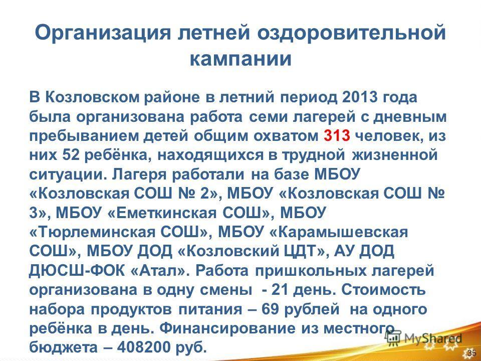 Организация летней оздоровительной кампании В Козловском районе в летний период 2013 года была организована работа семи лагерей с дневным пребыванием детей общим охватом 313 человек, из них 52 ребёнка, находящихся в трудной жизненной ситуации. Лагеря