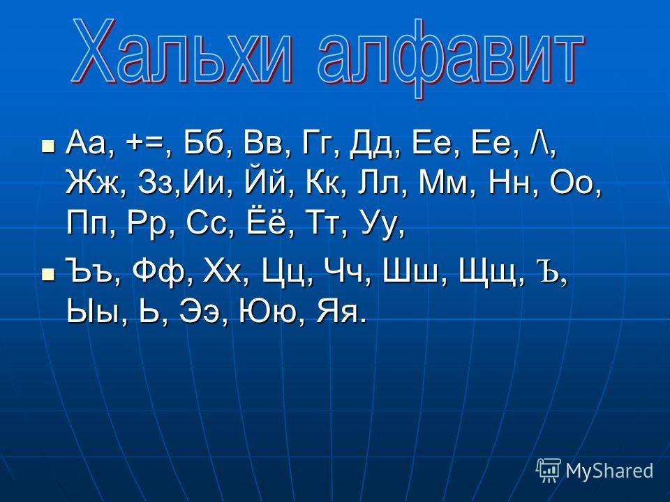 Аа, +=, Бб, Вв, Гг, Дд, Ее, Ее, /\, Жж, Зз,Ии, Йй, Кк, Лл, Мм, Нн, Оо, Пп, Рр, Сс, Ёё, Тт, Уу, Ъъ, Фф, Хх, Цц, Чч, Шш, Щщ, Ъ, Ыы, Ь, Ээ, Юю, Яя.