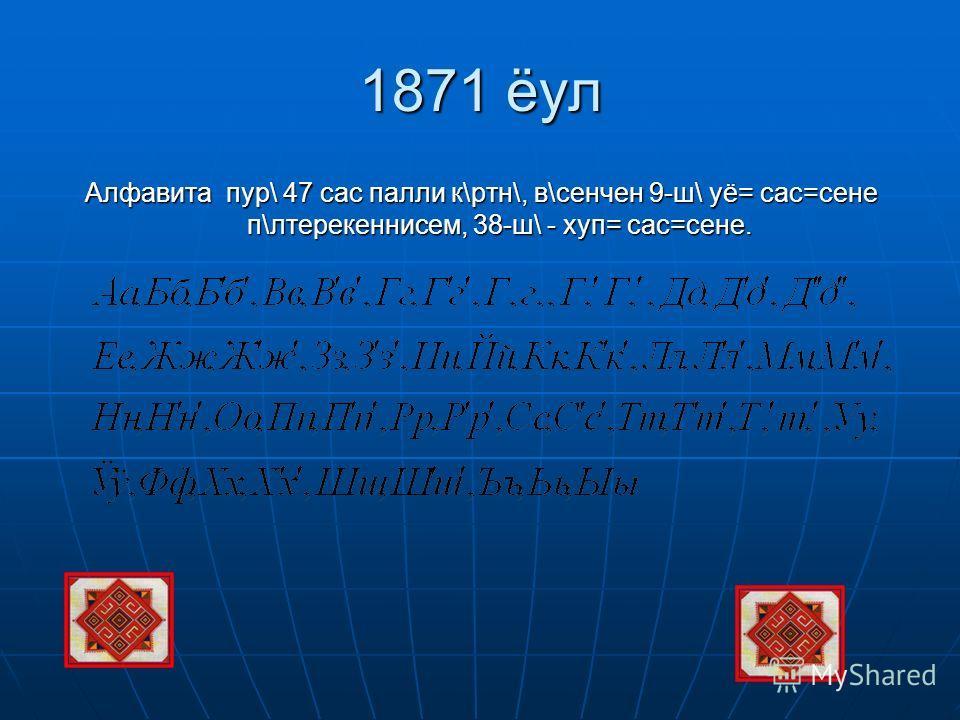 1871 ёул Алфавита пур\ 47 сас палли к\ртн\, в\сенчен 9-ш\ уё= сас=сене п\лтерекеннисем, 38-ш\ - хуп= сас=сене.