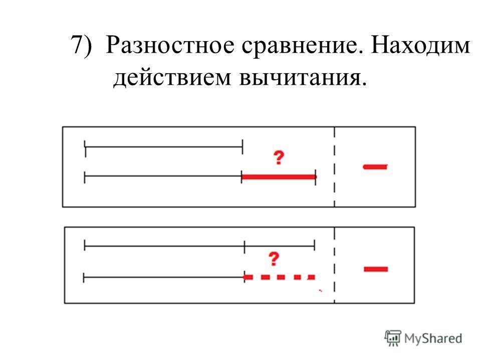 7) Разностное сравнение. Находим действием вычитания.