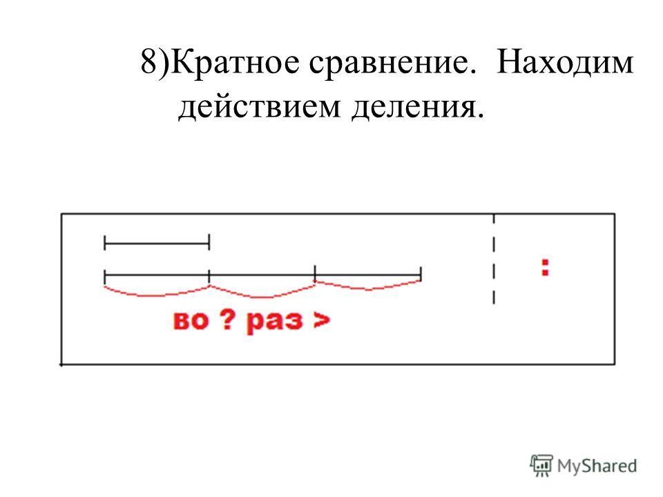 8)Кратное сравнение. Находим действием деления.