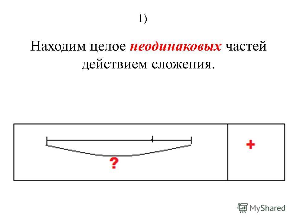 Находим целое неодинаковых частей действием сложения. 1)