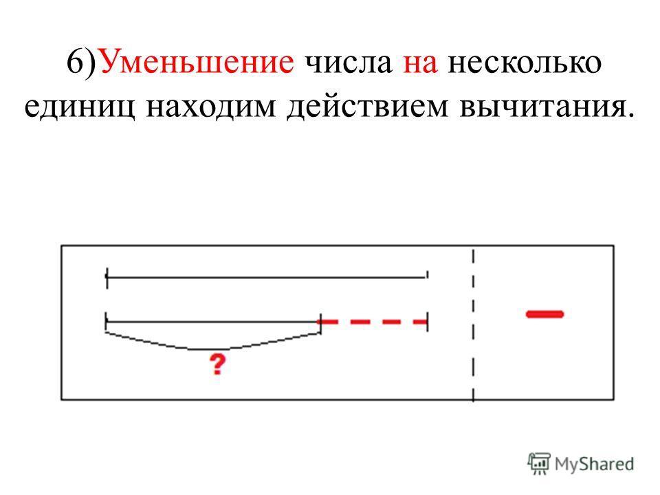 6)Уменьшение числа на несколько единиц находим действием вычитания.