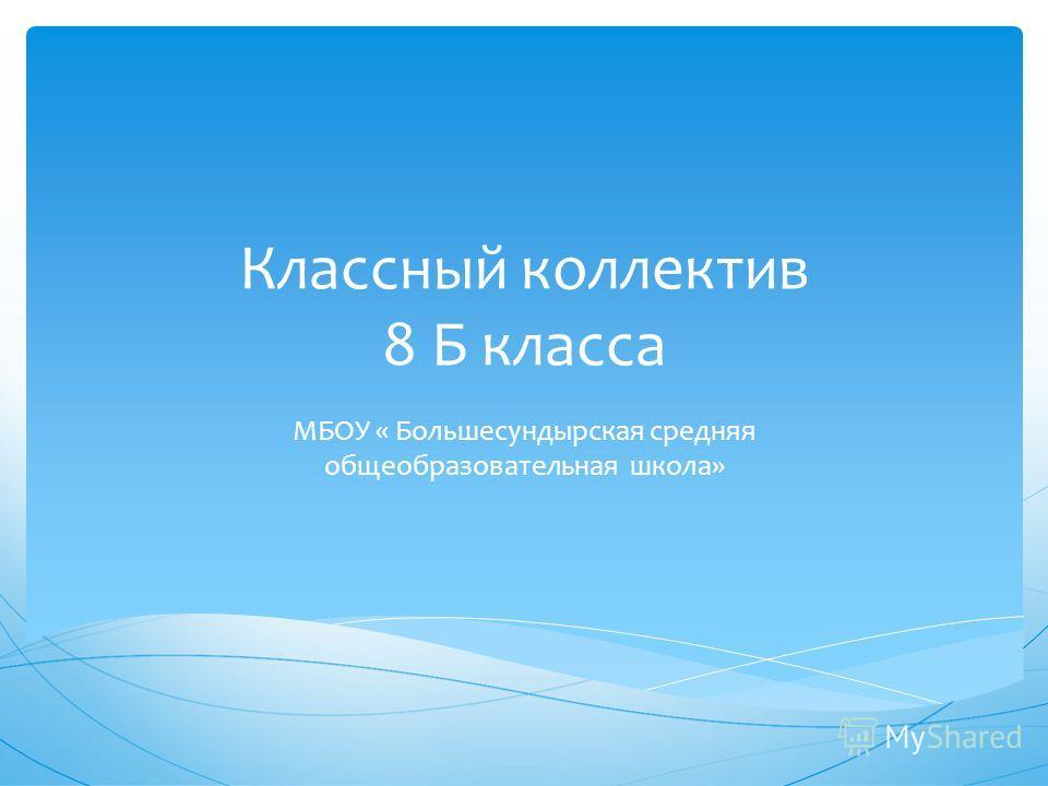 Классный коллектив 8 Б класса МБОУ « Большесундырская средняя общеобразовательная школа»