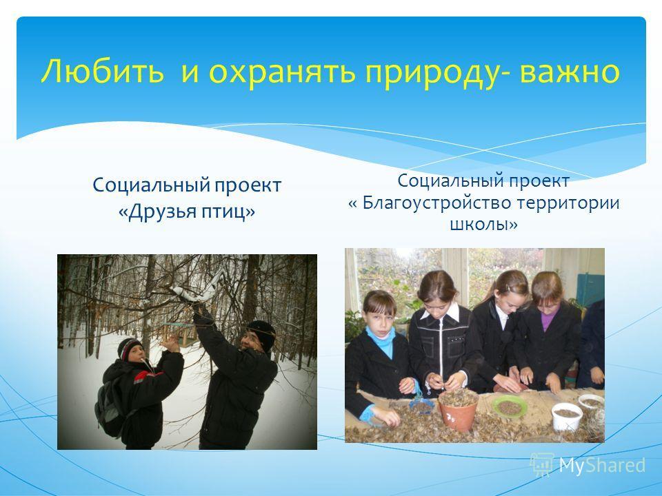 Любить и охранять природу- важно Социальный проект «Друзья птиц» Социальный проект « Благоустройство территории школы»
